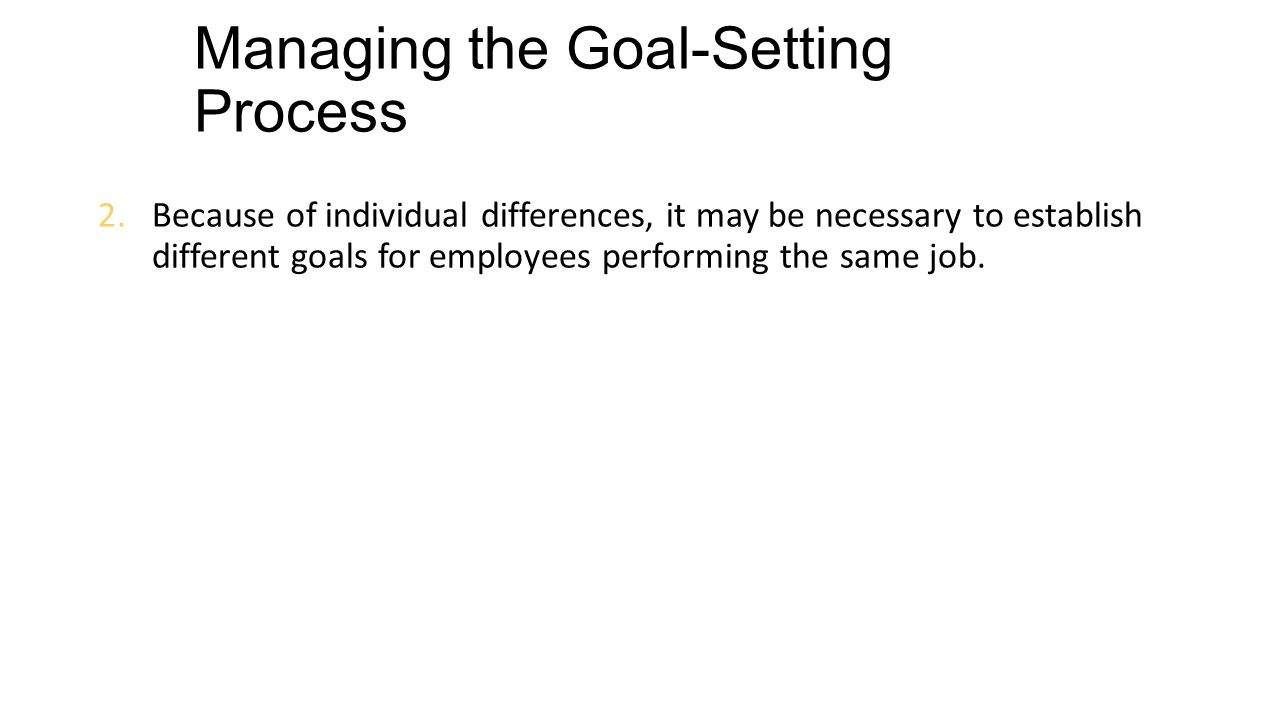 improving job performance goals feedback rewards and because of individual differences it be necessary to establish different goals for employees performing the same job