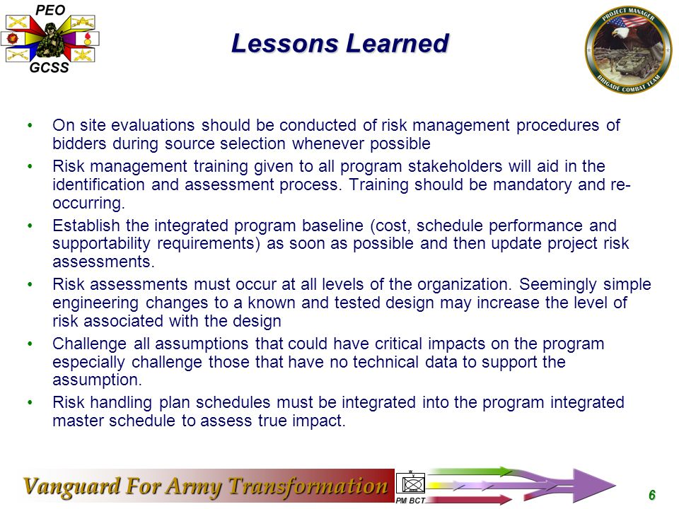 Vanguard For Army Transformation Pm Bct 1 Predicting What The