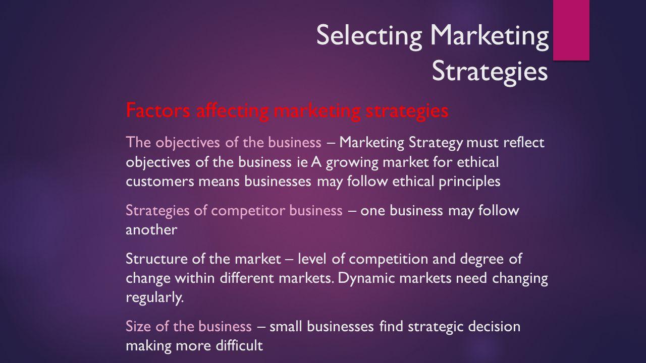 factors affect marketing strategy