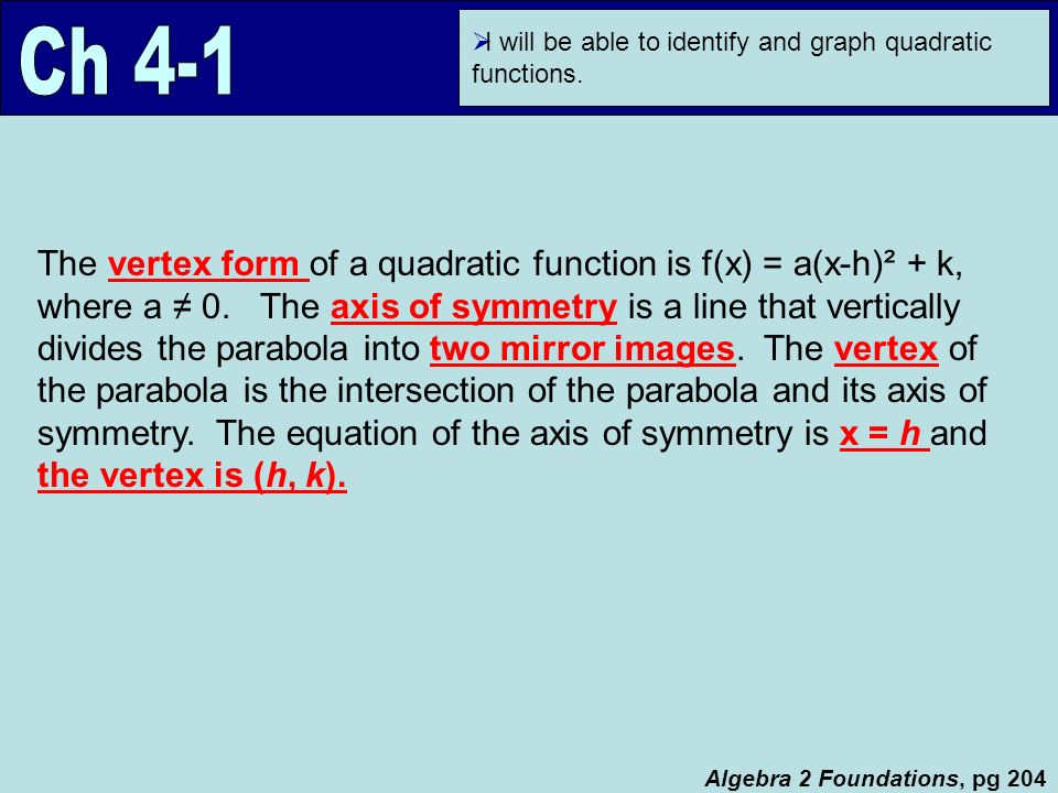 I Will Be Able To Identify And Graph Quadratic Functions Algebra 2
