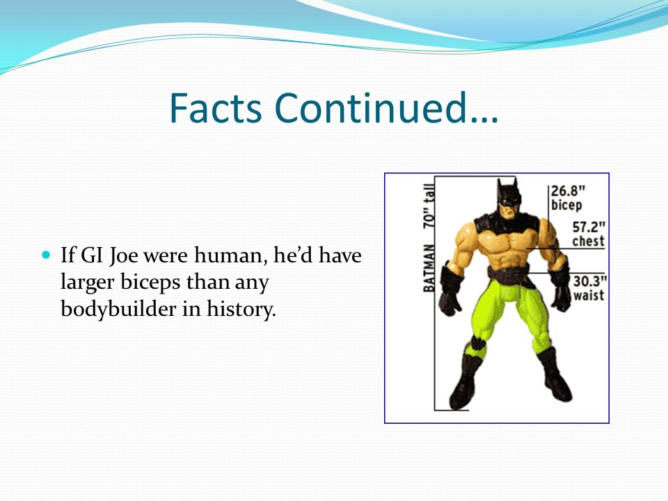 Facts Continued… If GI Joe were human, he'd have larger biceps than any bodybuilder in history.