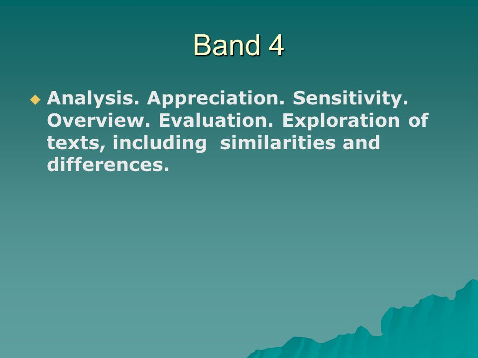 Band 4   Analysis. Appreciation. Sensitivity. Overview.