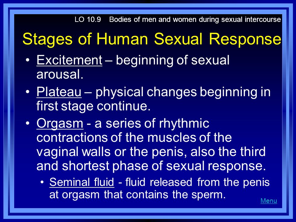 Stages of Human Sexual Response Excitement – beginning of sexual arousal. Plateau – physical changes beginning in first stage continue. Orgasm - a ser