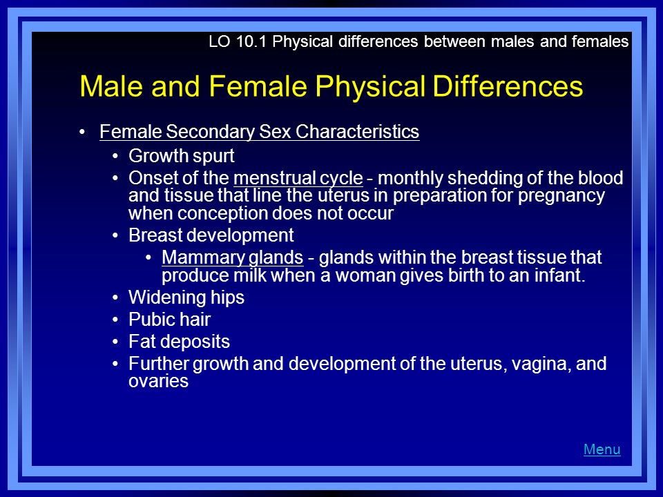Male and Female Physical Differences Female Secondary Sex Characteristics Growth spurt Onset of the menstrual cycle - monthly shedding of the blood an