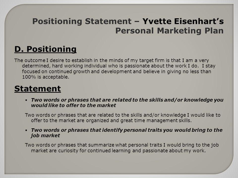 personal marketing plan essay