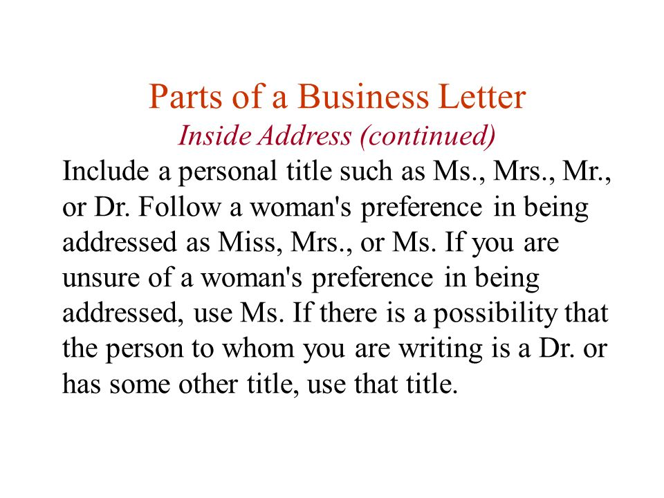 Lesson eleven writing business letters first any questions about parts of a business letter inside address continued include a personal title such as ccuart Image collections
