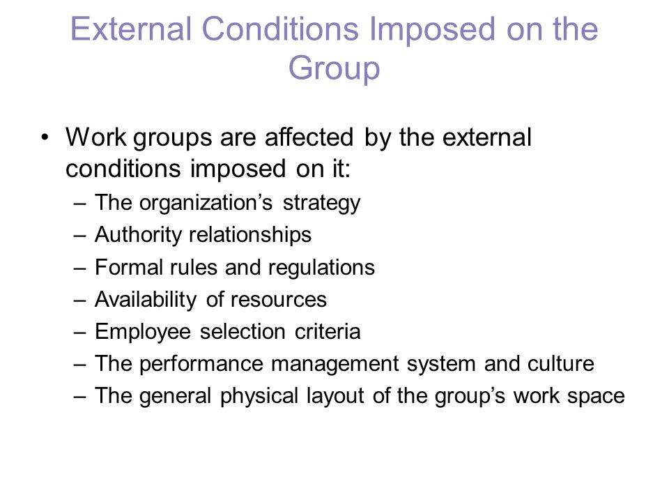 External Conditions Imposed on the Group Work groups are affected by the external conditions imposed on it: –The organization's strategy –Authority re
