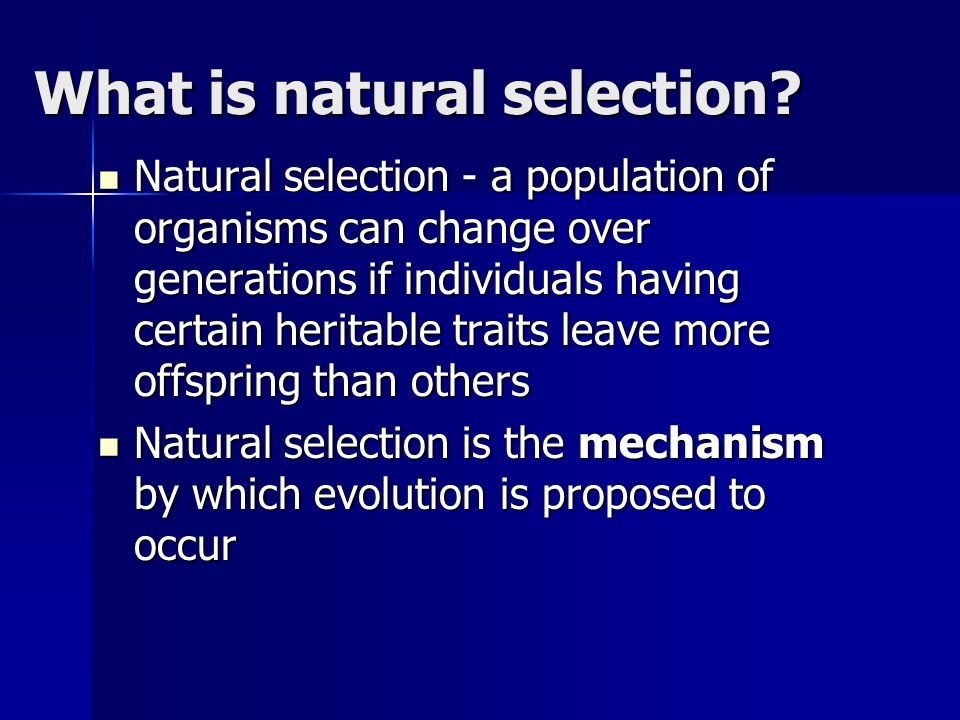 What is natural selection.