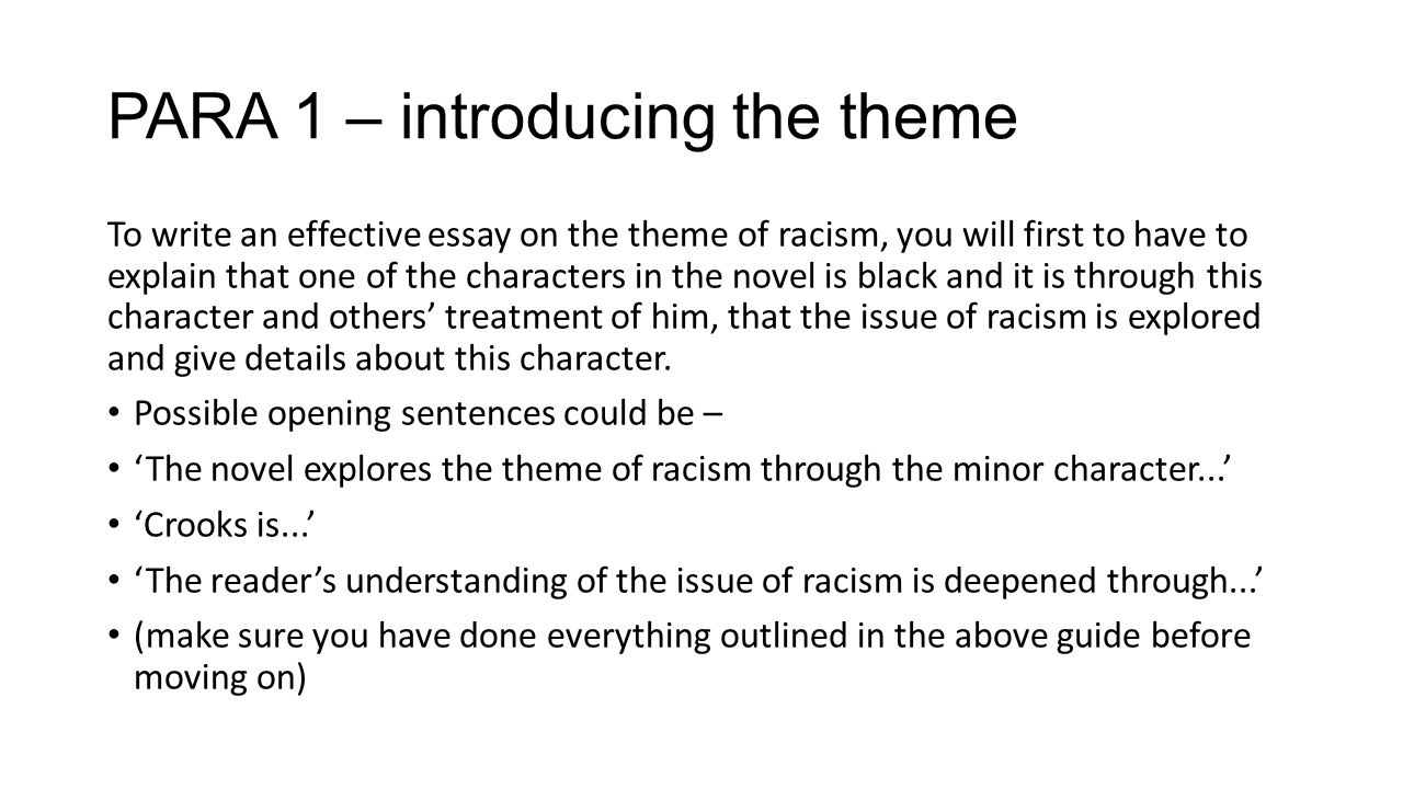 of mice and men national essay theme racism ppt para 1 introducing the theme to write an effective essay on the theme of racism