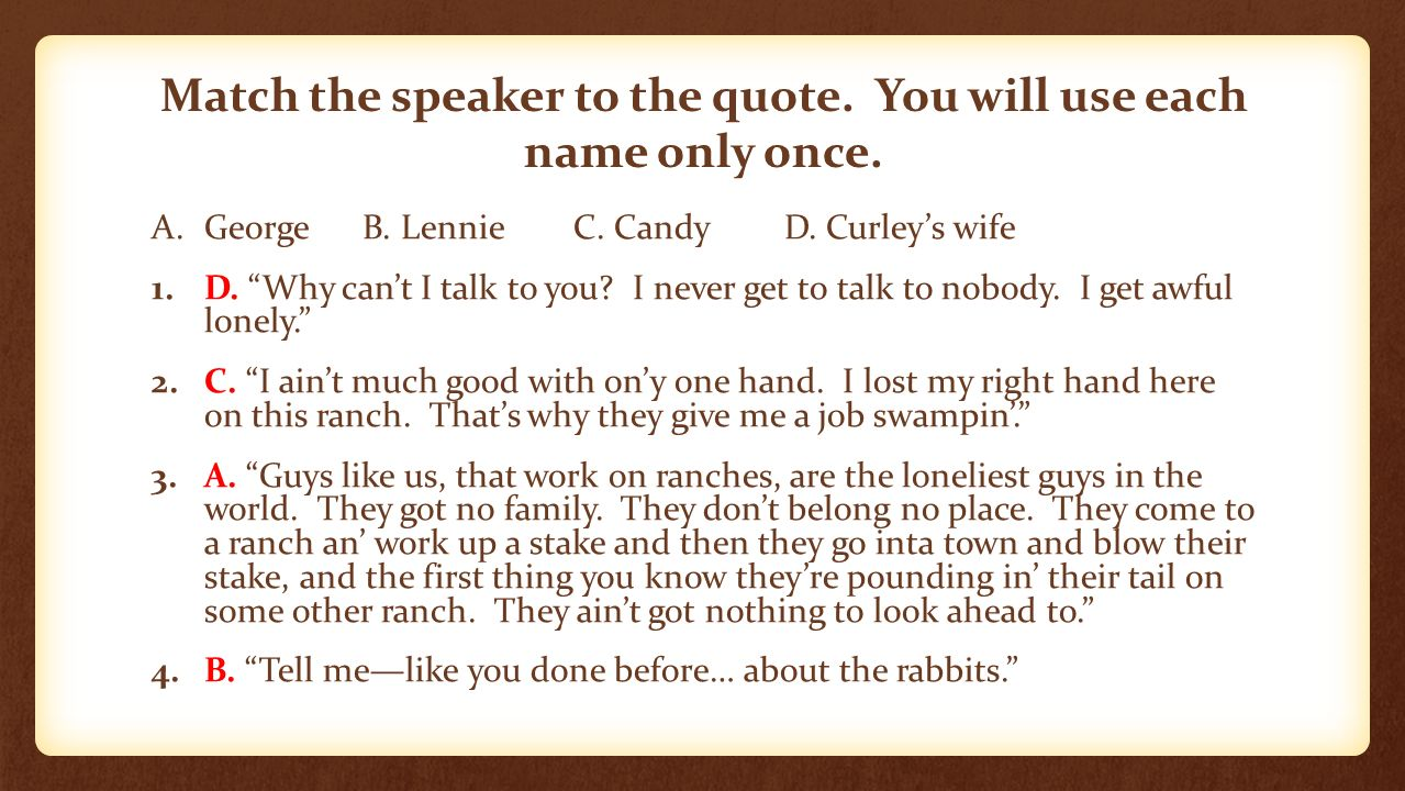 lennie and george s quotes from of