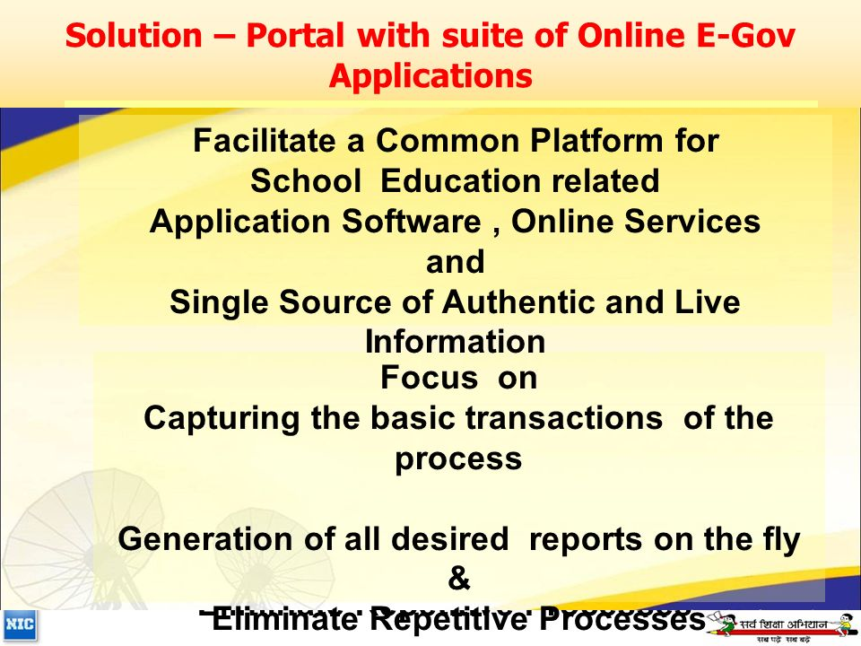 Solution – Portal with suite of Online E-Gov Applications Focus on Capturing the basic transactions of the process Generation of all desired reports on the fly & Eliminate Repetitive Processes Facilitate a Common Platform for School Education related Application Software, Online Services and Single Source of Authentic and Live Information Focus on Capturing the basic transactions of the process Generation of all desired reports on the fly & Eliminate Repetitive Processes Facilitate a Common Platform for School Education related Application Software, Online Services and Single Source of Authentic and Live Information