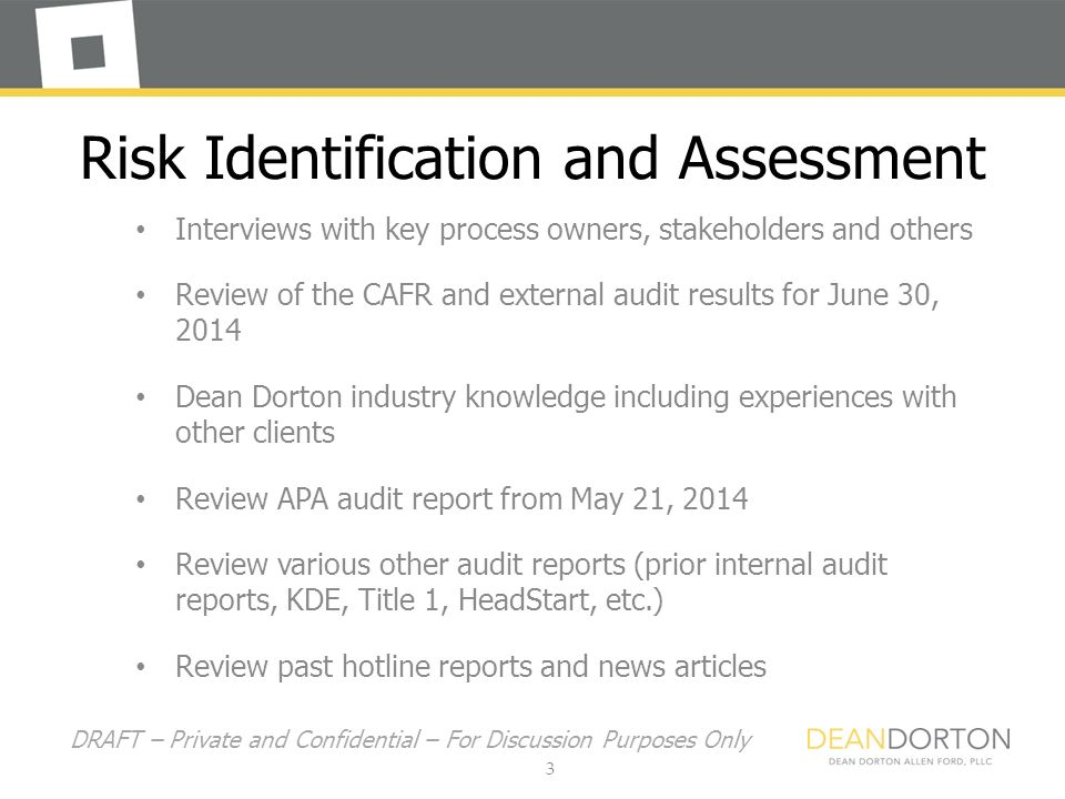 Jefferson County Public Schools District Internal Audit Report May