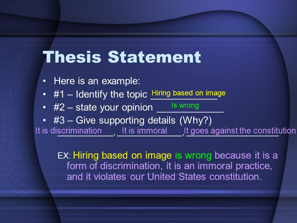 Good Example Of Thesis Statement