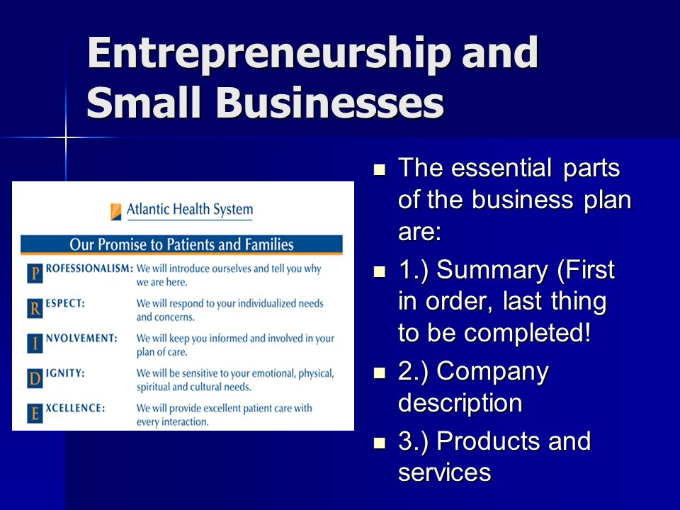 Entrepreneurship And Small Businesses The Essential Parts Of The Business  Plan Are: The Essential Parts