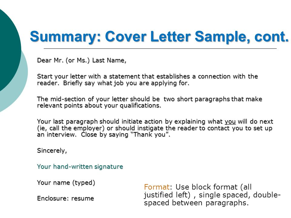 summary cover letter sample cont dear mr - Effective Cover Letter