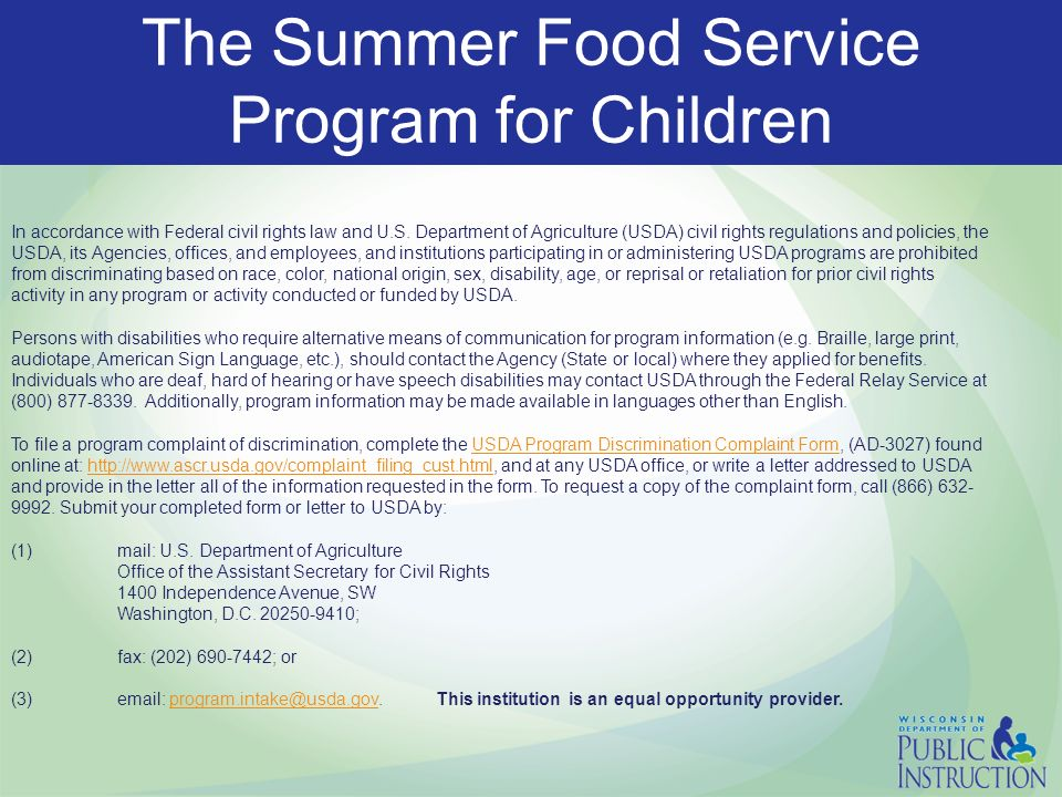The Summer Food Service Program For Children  Sfsp Updates And