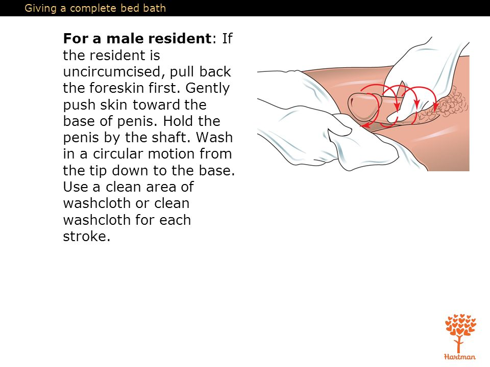cleaning an uncircumcised male
