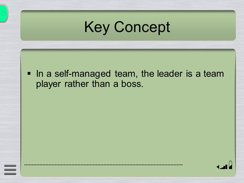  In a self-managed team, the leader is a team player rather than a boss. Key Concept