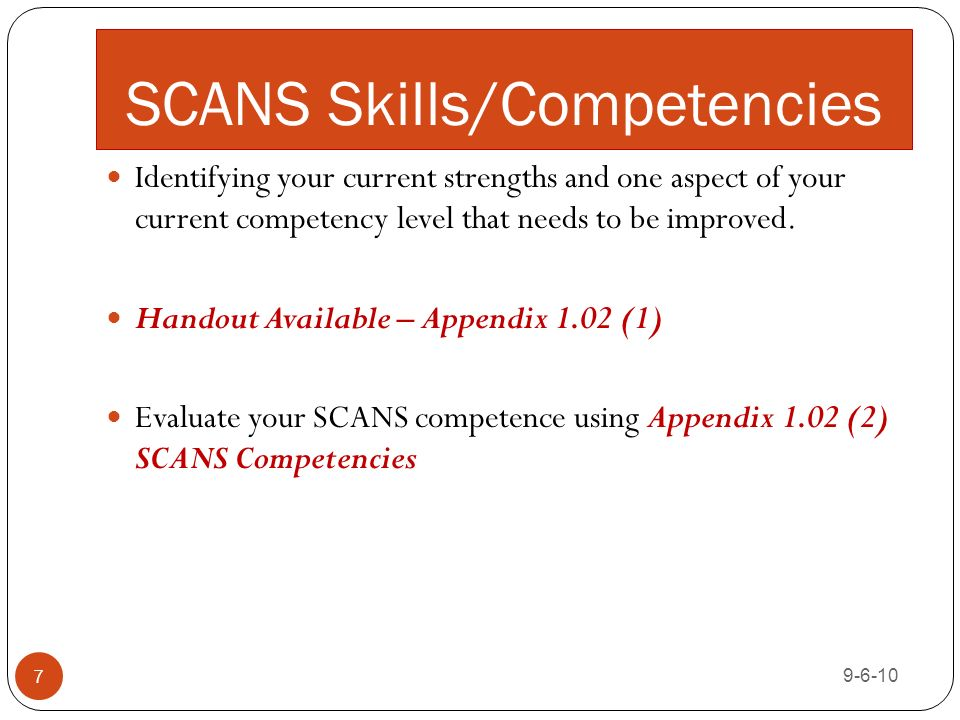 scans skillscompetencies 7 identifying your current strengths and one aspect of your current competency - Manager Skills List Of Skills Qualities Strengths And Competencies