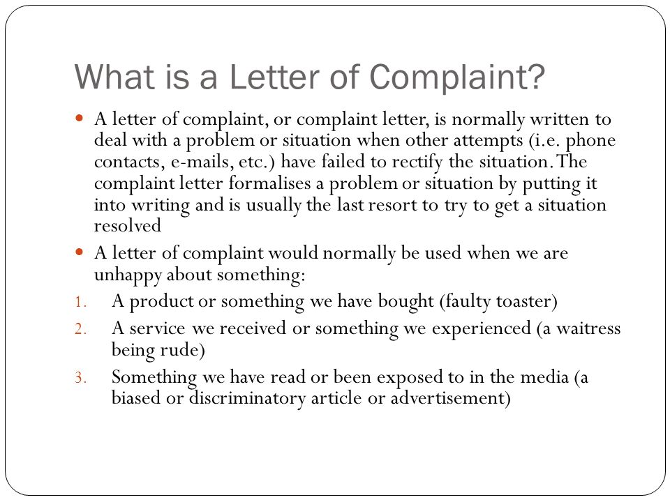 Stage 2 Esl Formal Letter Of Complaint. What Is A Letter Of