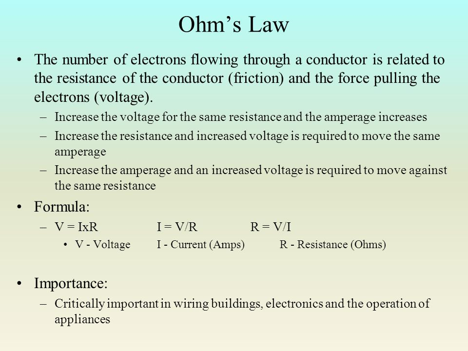 ohms law and resistance Ohm's law: voltage-current-resistance relationship the ohm's law concept builder is a tool that allows the learner to predict the effect of varying voltage and varying resistance upon the current in a circuit.