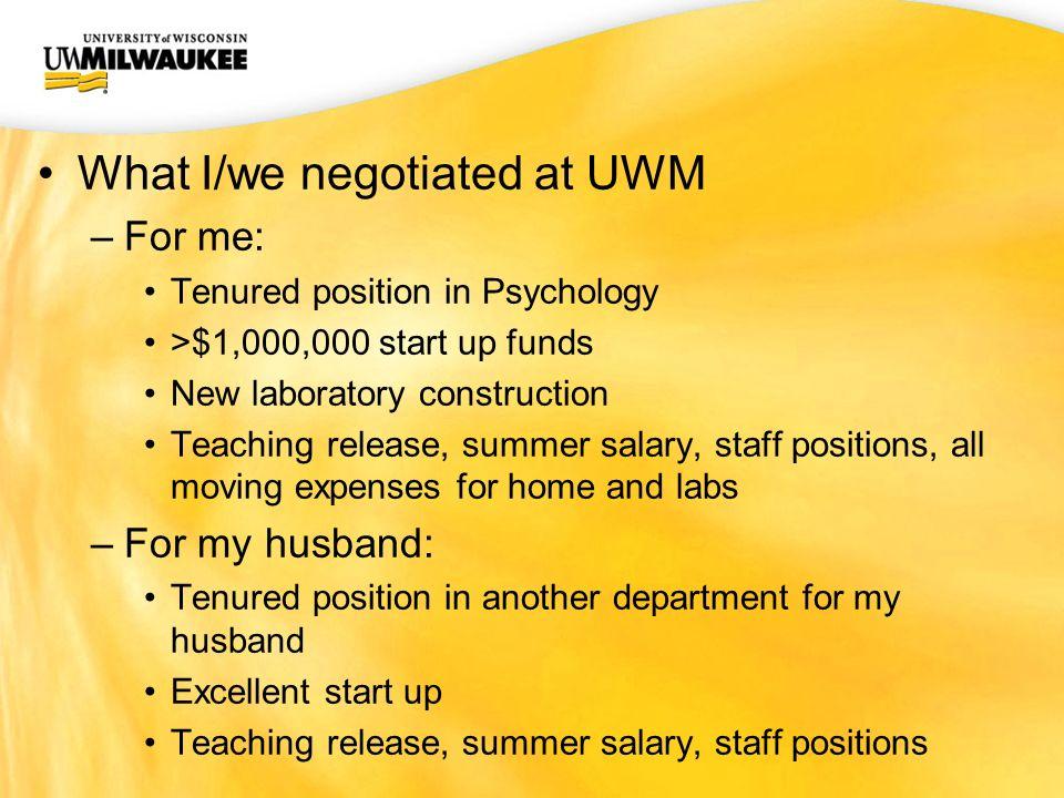 UWM CIO Office Negotiating a Senior Position Karyn M. Frick, Ph.D ...