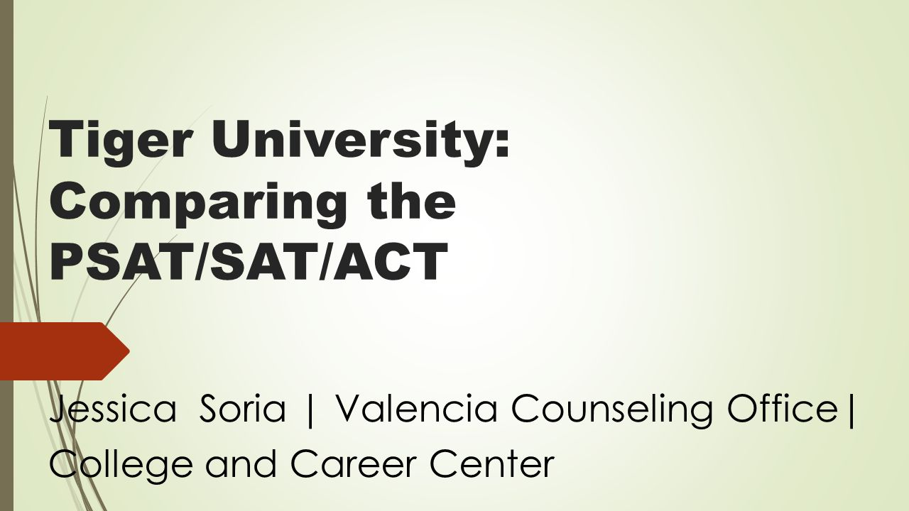 Tiger university comparing the psatsatact jessica soria 1 tiger university comparing the psatsatact jessica soria valencia counseling office college and career center geenschuldenfo Images