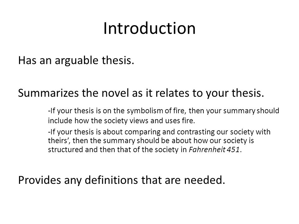 Learn English Essay Writing Introduction Has An Arguable Thesis Summarizes The Novel As It Relates To  Your Thesis How To Write A Proposal Essay Example also University English Essay Fahrenheit  Writing The Introduction And Conclusion  Ppt Download A Modest Proposal Essay Topics