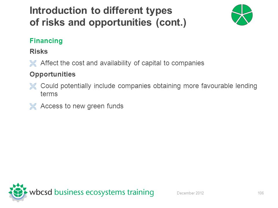 106 December 2012 Introduction to different types of risks and opportunities (cont.) Financing Risks  Affect the cost and availability of capital to companies Opportunities  Could potentially include companies obtaining more favourable lending terms  Access to new green funds