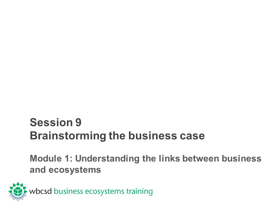 Session 9 Brainstorming the business case Module 1: Understanding the links between business and ecosystems