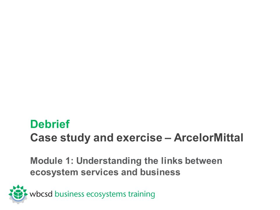 Debrief Case study and exercise – ArcelorMittal Module 1: Understanding the links between ecosystem services and business
