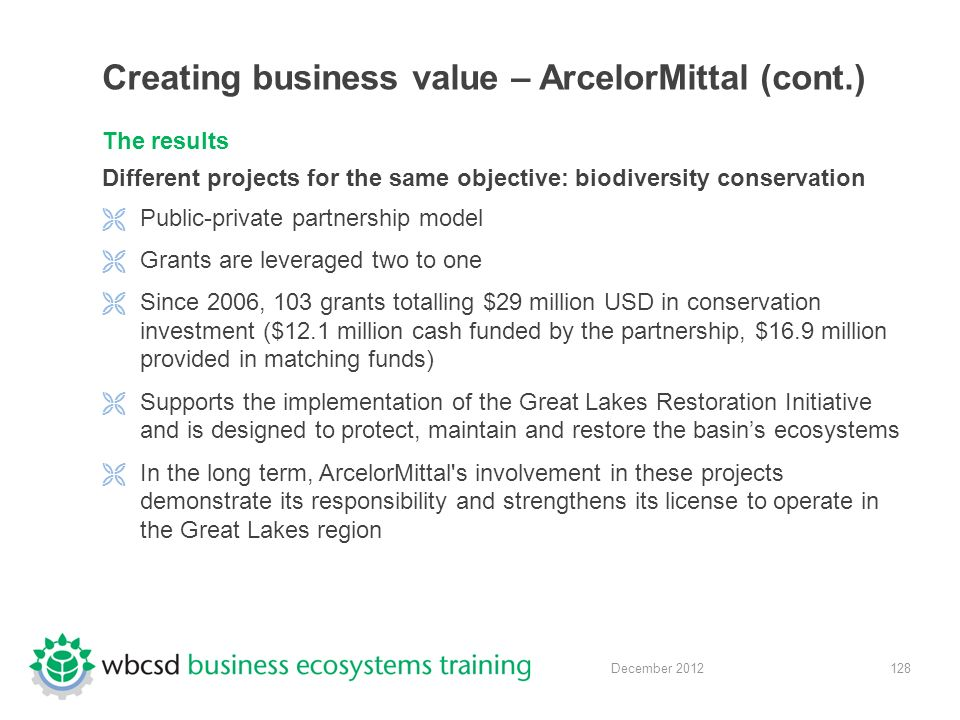 128 December 2012 Creating business value – ArcelorMittal (cont.) The results Different projects for the same objective: biodiversity conservation  Public-private partnership model  Grants are leveraged two to one  Since 2006, 103 grants totalling $29 million USD in conservation investment ($12.1 million cash funded by the partnership, $16.9 million provided in matching funds)  Supports the implementation of the Great Lakes Restoration Initiative and is designed to protect, maintain and restore the basin's ecosystems  In the long term, ArcelorMittal s involvement in these projects demonstrate its responsibility and strengthens its license to operate in the Great Lakes region