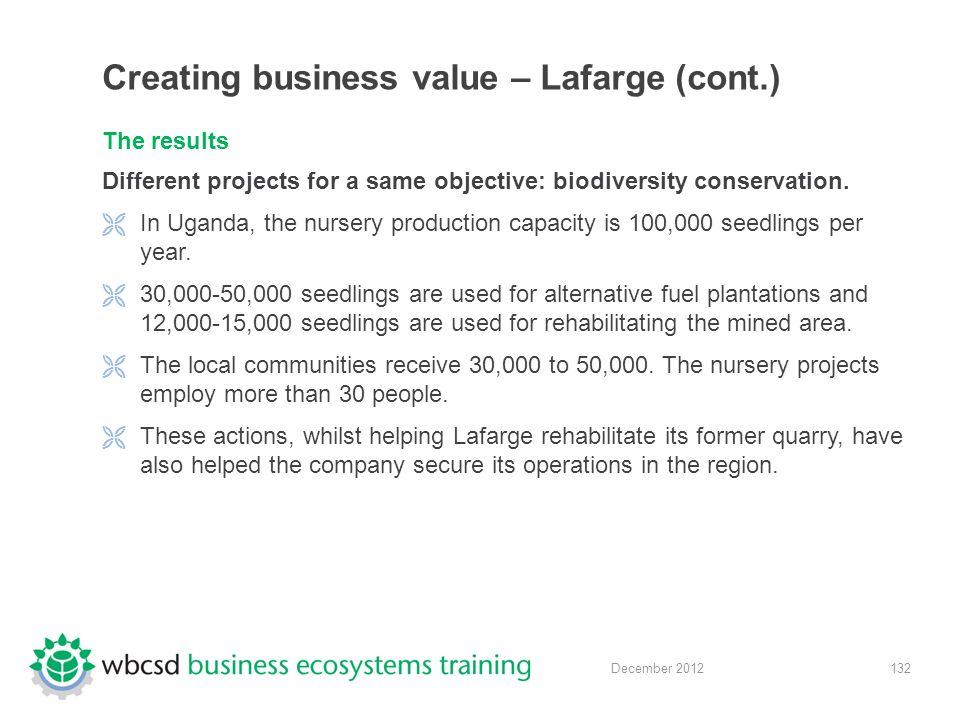 132 December 2012 Creating business value – Lafarge (cont.) The results Different projects for a same objective: biodiversity conservation.