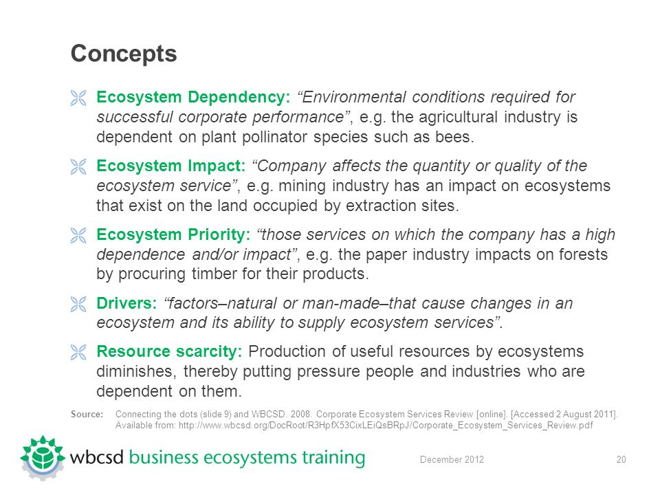 20 December 2012 Concepts  Ecosystem Dependency: Environmental conditions required for successful corporate performance , e.g.