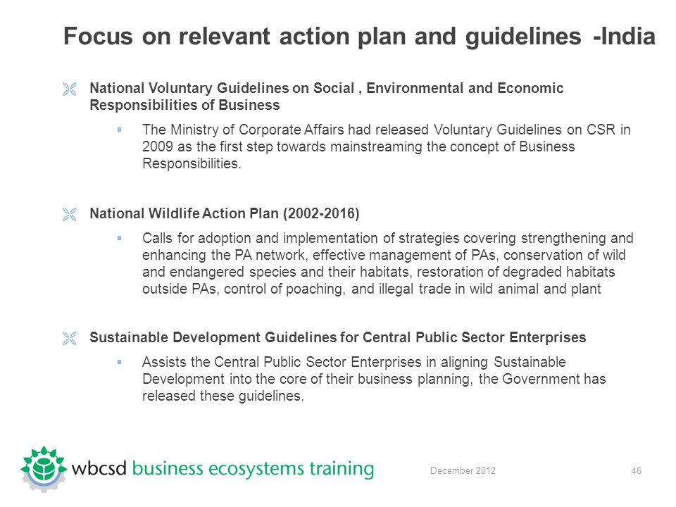 46 December 2012 Focus on relevant action plan and guidelines -India  National Voluntary Guidelines on Social, Environmental and Economic Responsibilities of Business  The Ministry of Corporate Affairs had released Voluntary Guidelines on CSR in 2009 as the first step towards mainstreaming the concept of Business Responsibilities.