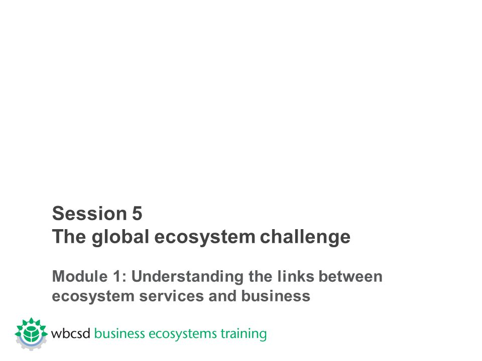 Session 5 The global ecosystem challenge Module 1: Understanding the links between ecosystem services and business