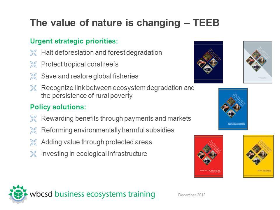 December 2012 The value of nature is changing – TEEB Urgent strategic priorities:  Halt deforestation and forest degradation  Protect tropical coral reefs  Save and restore global fisheries  Recognize link between ecosystem degradation and the persistence of rural poverty Policy solutions:  Rewarding benefits through payments and markets  Reforming environmentally harmful subsidies  Adding value through protected areas  Investing in ecological infrastructure