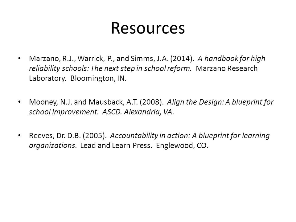 Resources Marzano, R.J., Warrick, P., and Simms, J.A.