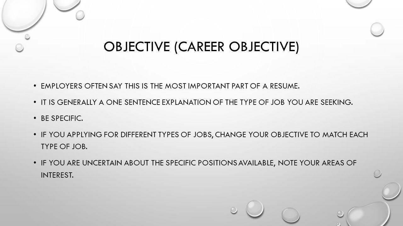 One Line Career Objective Kasare Annafora Co