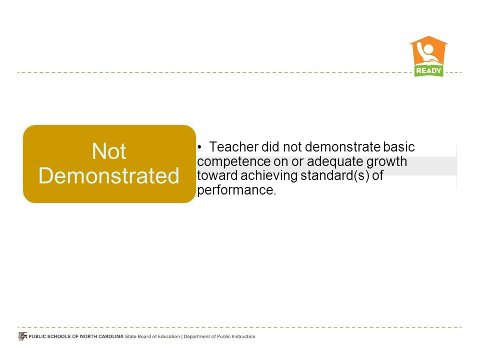 Teacher did not demonstrate basic competence on or adequate growth toward achieving standard(s) of performance.