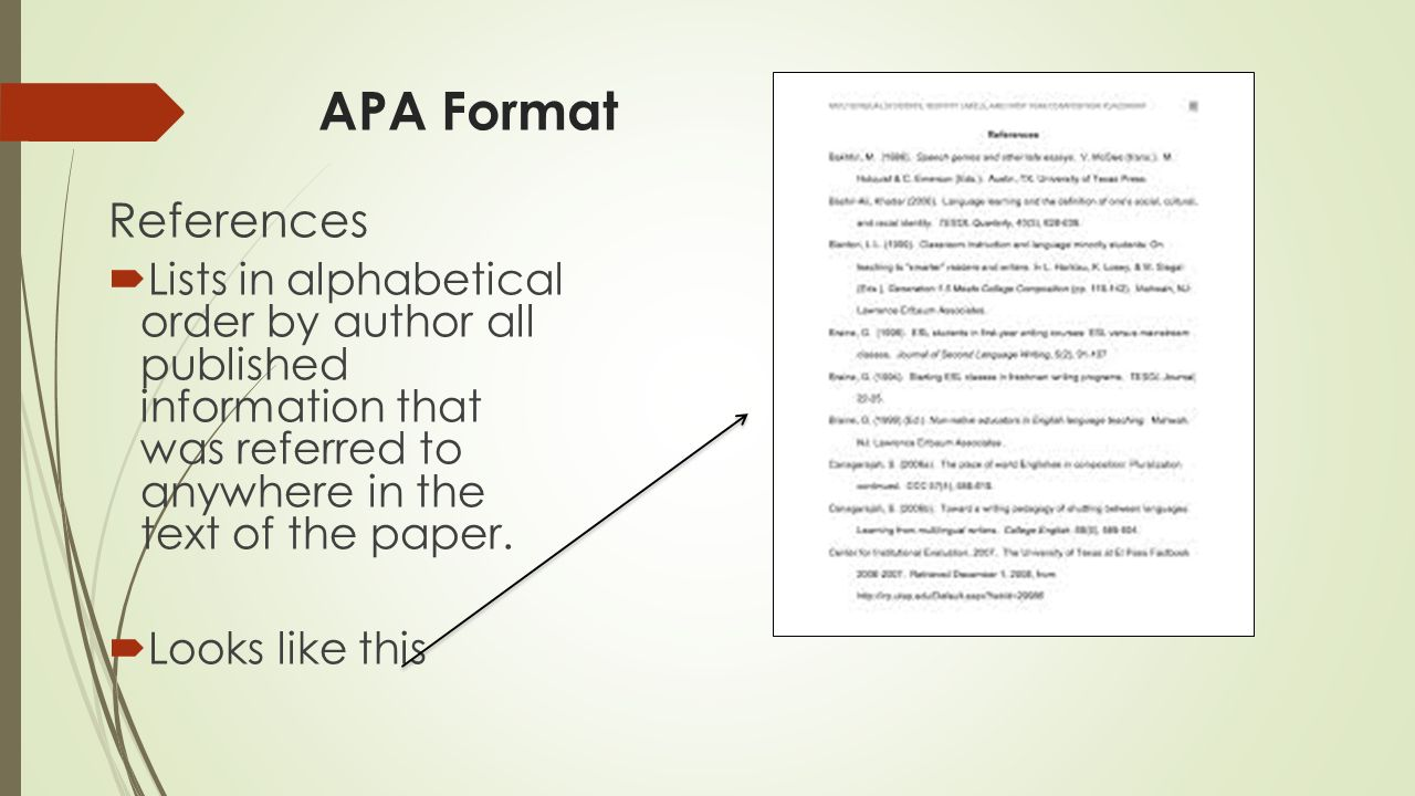 apa reference format Apa format broken down: use this format if you are using 1 chapter out of a book that has many chapters, and each chapter is written by a different author.