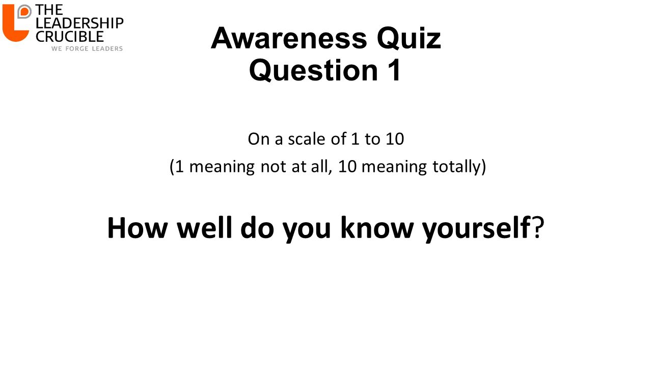 Awareness Quiz Question 1 On a scale of 1 to 10 (1 meaning not at all, 10 meaning totally) How well do you know yourself