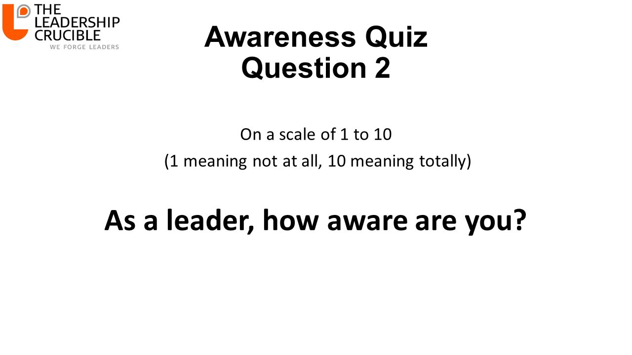 Awareness Quiz Question 2 On a scale of 1 to 10 (1 meaning not at all, 10 meaning totally) As a leader, how aware are you