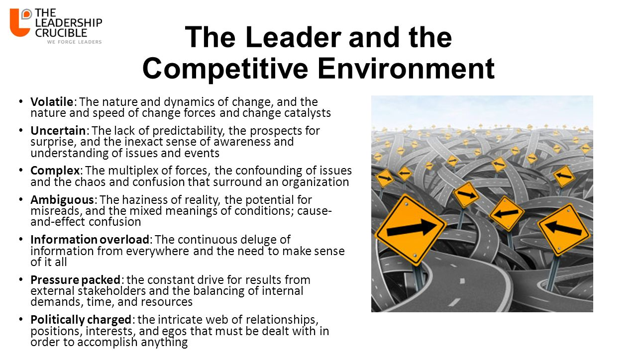 The Leader and the Competitive Environment Volatile: The nature and dynamics of change, and the nature and speed of change forces and change catalysts Uncertain: The lack of predictability, the prospects for surprise, and the inexact sense of awareness and understanding of issues and events Complex: The multiplex of forces, the confounding of issues and the chaos and confusion that surround an organization Ambiguous: The haziness of reality, the potential for misreads, and the mixed meanings of conditions; cause- and-effect confusion Information overload: The continuous deluge of information from everywhere and the need to make sense of it all Pressure packed: the constant drive for results from external stakeholders and the balancing of internal demands, time, and resources Politically charged: the intricate web of relationships, positions, interests, and egos that must be dealt with in order to accomplish anything