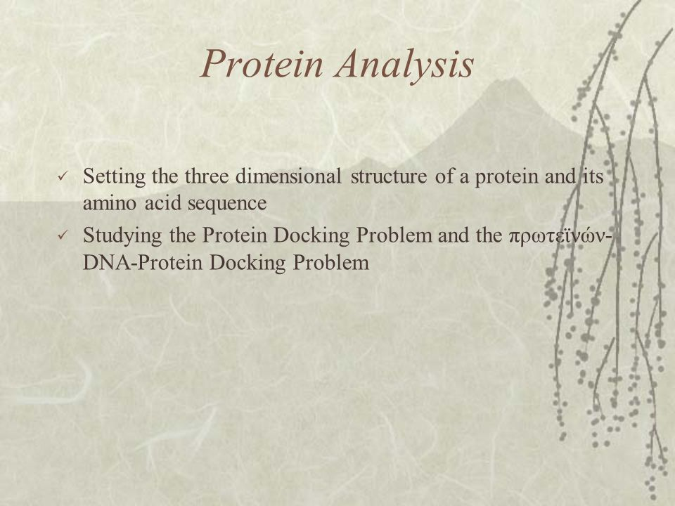 Protein Analysis Setting the three dimensional structure of a protein and its amino acid sequence Studying the Protein Docking Problem and the πρωτεϊνών- DNA-Protein Docking Problem