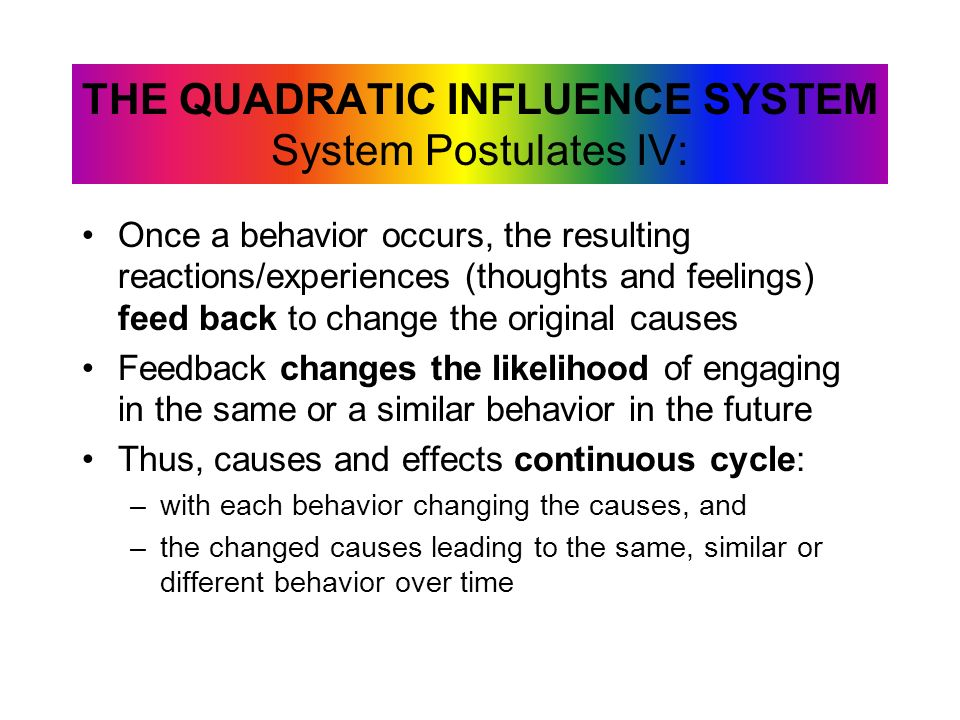 Once a behavior occurs, the resulting reactions/experiences (thoughts and feelings) feed back to change the original causes Feedback changes the likel