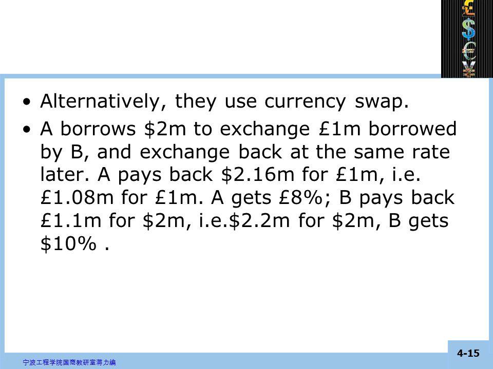 4-14 宁波工程学院国商教研室蒋力编 interest rate swap A company facing $8%, £10%; B company facing £10%, $12%.