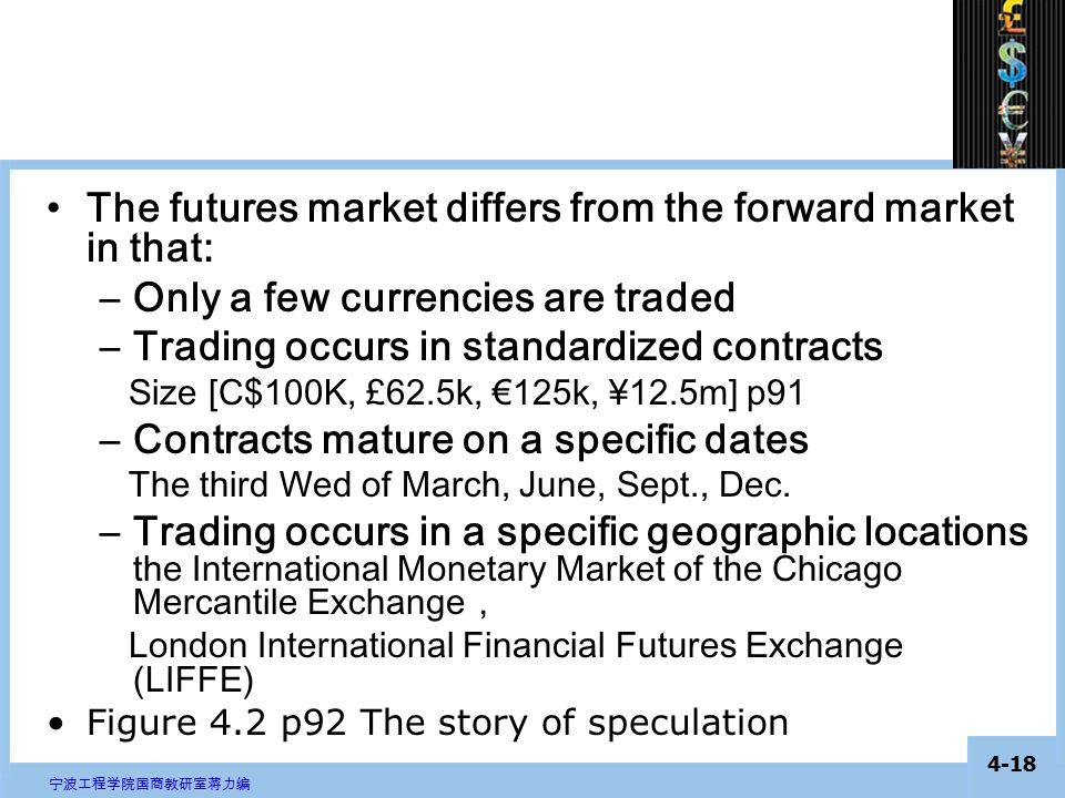4-17 宁波工程学院国商教研室蒋力编 Foreign Exchange Futures Market Futures market is similar to the forward market where currencies may be bought and sold for future delivery.