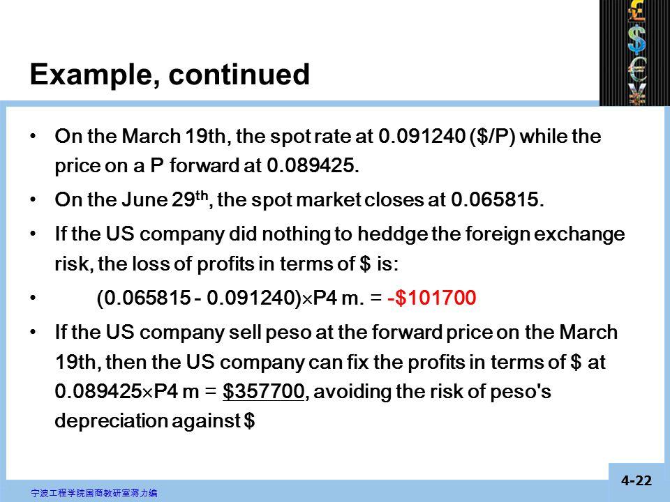 4-21 宁波工程学院国商教研室蒋力编 Example, continued On the March 19th, the spot rate at 0.091240 ($/P) while the price on a P future at 0.089425.