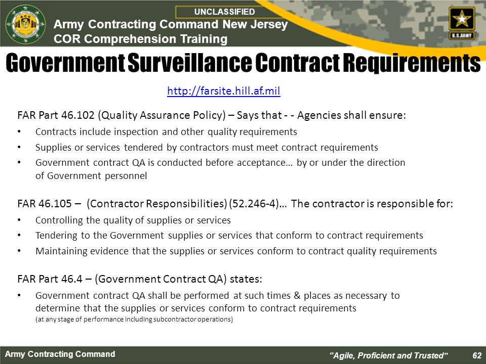 Contract Requirements Unclassified Unclassified Army Contracting
